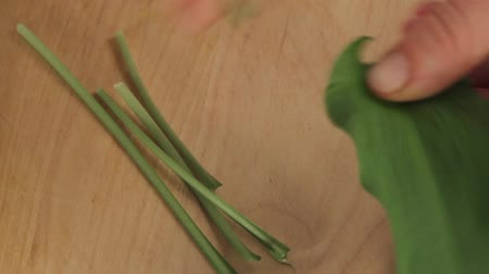 plucked : Stems being removed from ramson leaves