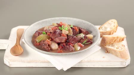 veal recipe : Stifado (Greek meat stew) Stock Footage