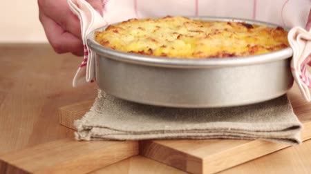 specialties : Freshly baked cottage pie Stock Footage