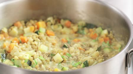 hotpot : Seasoning lentil stew with pepper Stock Footage