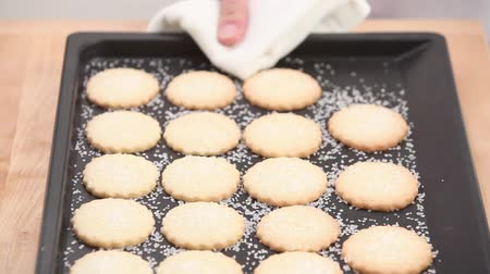 keksz : Freshly baked sugared biscuits on a baking tray