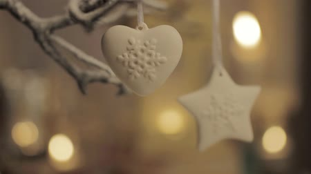 szív alakú : A heart-shaped decoration and a star-shaped decoration hanging on a branch