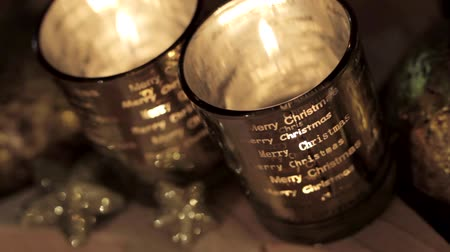 trimmings : Christmas tealights Stock Footage