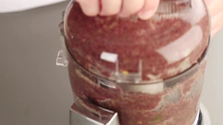 pastas : Ingredients for olive paste being pureed in a mixer Stock Footage