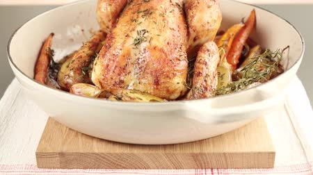 entire : Roast rosemary chicken with roasted vegetables Stock Footage