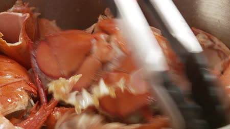 being prepared : Frying lobster shells