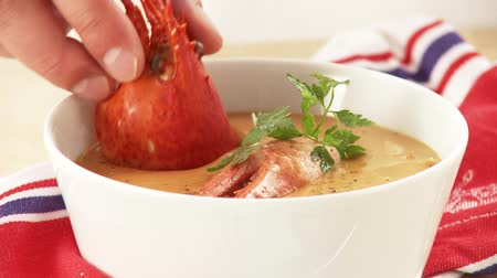 plating food : Cream of lobster soup