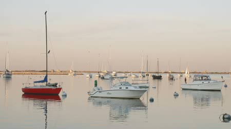motor vehicle : Wide shot of boats at harbor Stock Footage