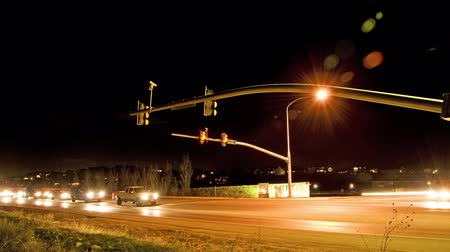 crossway : Time-lapse shot of the intersection at Cedar Pass Drive, Utah at night