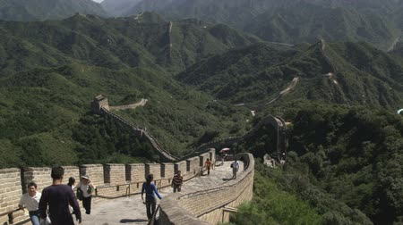 great wall of china : A wide shot of the Great Wall of China in the Badaling section.