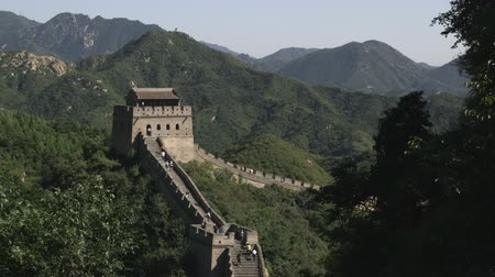 great wall of china : A wide shot of a tower at the Great Wall of China in the Badaling section. Stock Footage