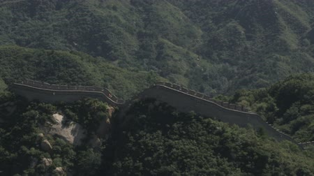 great wall of china : Pan of the Great Wall of China from a medium-long distance. Filmed in China. Stock Footage
