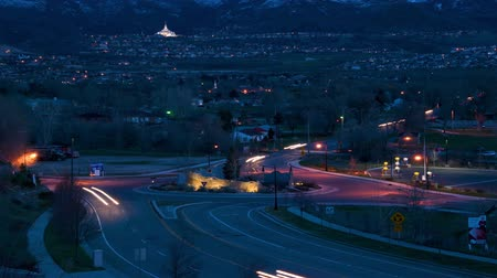 devletler : Timelapse shot of roundabout in Draper, Utah Stok Video