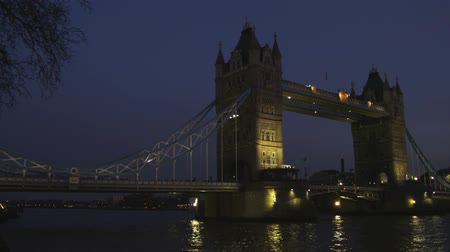 silhouet : Breed schot pan van de Tower Bridge in de nacht