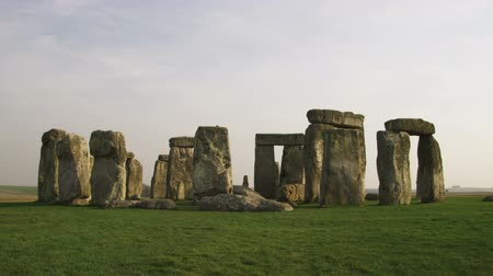 bronz : Wide shot of Stonehenge with birds flying through