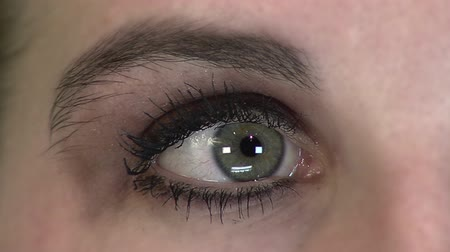 irys : Closeup of a womans eyeball with eyeshadow and mascara looking back and forth.