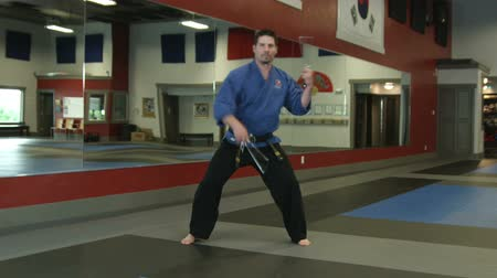 каратэ : Slow rotating shot of a man in a karate studio practicin sai weapon moves Стоковые видеозаписи