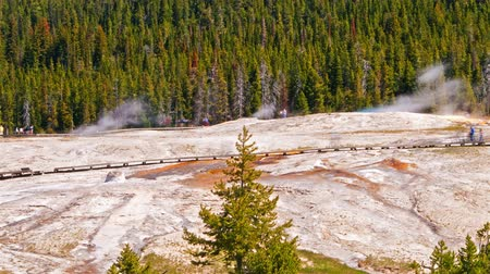 nedvesség : Time-lapse wide shot of Geyser Boardwalk in Wyoming. The shot was taken during the day when tourists were walking along the boardwalk to look at the geysers. The shot is blurry.