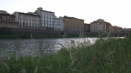 florencja : Pan up river of buildings and tall grass in foreground