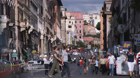 pro government : A shot of a busy street in Rome Italy.