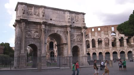pro government : A wide shot of the Arch of Constatine in Rome Italy.
