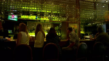 паб : The shot pans over socializing people seated a bar. Beverages and glasses abound in the shot.