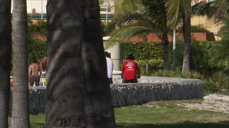 rowerek : A shot of a walking path in Miami. People are walking, biking, and rollerblading. Wideo