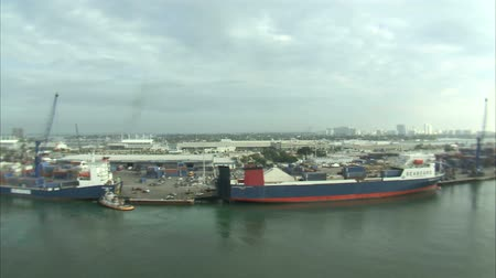 shipping : An aerial shot of a shipping yard in Miami.
