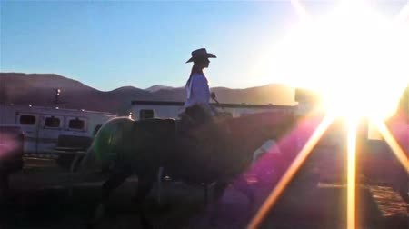 koń : Lens flare shot of a rodeo rider on his horse in Utah. The camera follows the horse and its rider from the left to the right of the screen. They pass different vehicles and buildings.