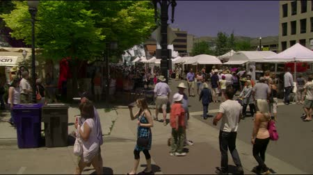çiftçi : Jib shot of people at a farmers market in Salt Lake City, UT Stok Video