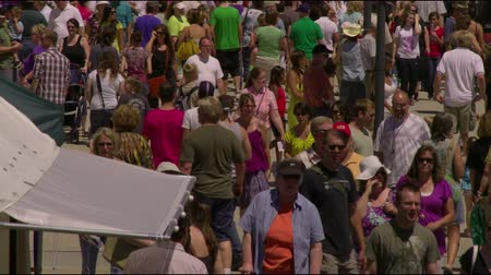 food state : Jib shot of people at a farmers market in Salt Lake City, UT Stock Footage