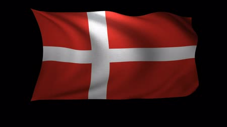danimarka : A 3D Rendering of the flag of Denmark waving in the wind. The background is an Alpa Channel. Stok Video