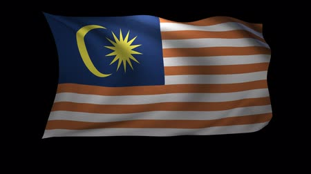 malajské : A 3D Rendering of the flag of Malaysia waving in the wind. The background is an Alpa Channel.