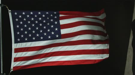 bandeira americana : American flag waving in the wind with black background. Flag pole is partially visible. Shot is static. In studio.