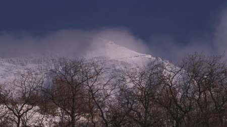 spící : Clouds above the treeline of a winter forest, with a snow-covered mountain filling up the background. Dostupné videozáznamy