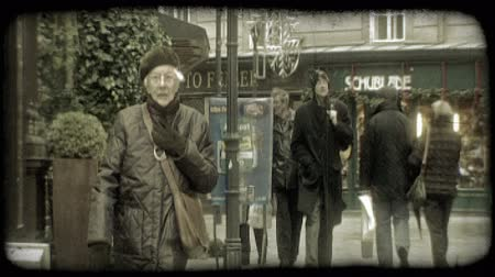 viennese : Ordinary people, dressed warmly in coats and jackets and hats, walk along Viennese street by buildings and street lamps in Vienna, Austria during winter. Vintage stylized video clip. Stock Footage