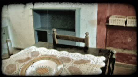 tahıllar : Tilt down shot of the interior of an Italian home. Vintage stylized video clip.