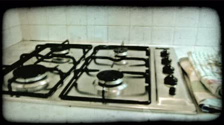 konyhai : Pan left shot of the interior of a kitchen inside an Italian home. Vintage stylized video clip.