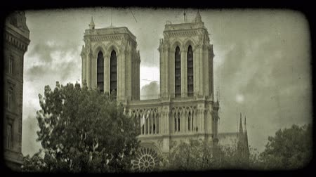 charakteristický : Side of famous Notre Dame cathedral rises up above trees with dramatic cloud background and side of another Paris building on left in France. Vintage stylized video clip.
