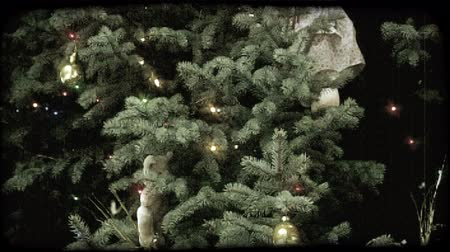 долл : Close pan of Christmas tree with its everygreen branches decorated with colored lights, gold tinsil, metal balls, a teddy bear and doll wearing a pink prarie dress as ornaments. Vintage stylized video clip.