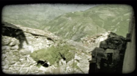 сбор винограда : Pan left shot of some ruins in Italy. Vintage stylized video clip.