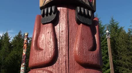 aboriginal : A tilting shot of a totem pole in Totem Bight State Park. The camera moves upwards. Some trees, grass, sky, and another totem pole are in the background. Captured on a sunny day, on June 5, 2009. Stock Footage