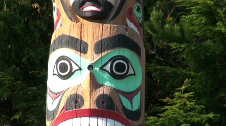 aboriginal : A tilting shot of a totem pole in Totem Bight State Park. The camera moves upwards, starting from the totem poles foot and ending up in the blue sky. The camera also sways sideways a bit. Captured on a sunny day, on June 5, 2009. Stock Footage