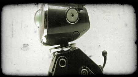 robots : Shot of a robotic dog. Vintage stylized video clip. Stock Footage