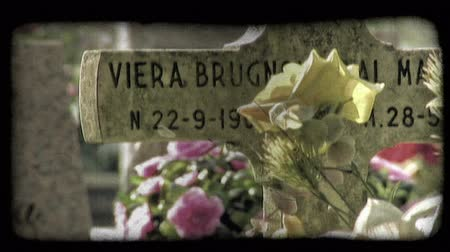 сбор винограда : A shot of Italian tombstones. Vintage stylized video clip.