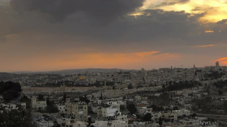 zsidó : Sunset time-lapse from the Brigham Young University Jerusalem center. Panning shot.