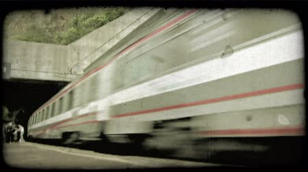 dolgok : A train passes by in Italy. Vintage stylized video clip.