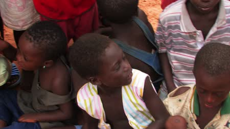 deprived : African children sitting all together. Stock Footage