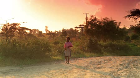 afrika : Small boy walks along dirt road at sunrise in Africa