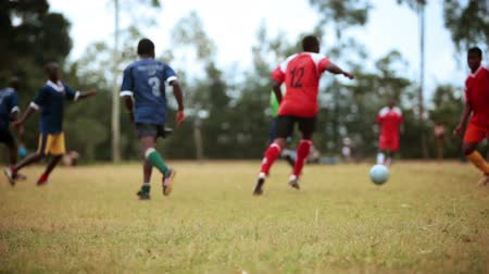 kalhoty : Footage following the action of a Kenyan footballsoccer game between two teams of young men, a red team and a blue team. Two boys trip over the ball. Filmed in Kenya, Africa. Dostupné videozáznamy